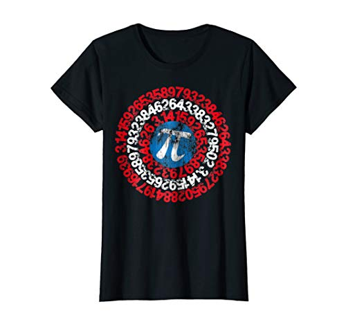 Womens Captain Pi Superhero Shield Shirt for Math Geeks and Nerds Medium Black