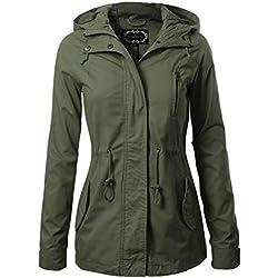 Instar Mode Women's Military Anorak Safari Hoodie Jacket Olive L