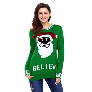 Lenvei Women Christmas Knitted Sweater Cute Santa Themed Knitted Pullover
