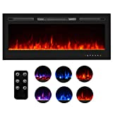 Homedex 50' Recessed Mounted Electric Fireplace Insert with Touch Screen Control Panel, Remote Control, 750/1500W, Black
