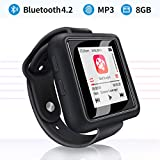 Mymahdi Sport Music Clip,8 GB Bluetooth MP3 Player with FM Radio/Voice Record Function,Touch Screen Player,Max Support up to 128GB, Black