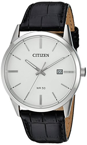 41BKQ9LFaCL Round silver-tone watch featuring white dial with stick indices, luminous hands, and mini date window 39 mm stainless steel case with mineral dial window Movement: Conventional Battery G111, Japanese quartz movement with analog display.