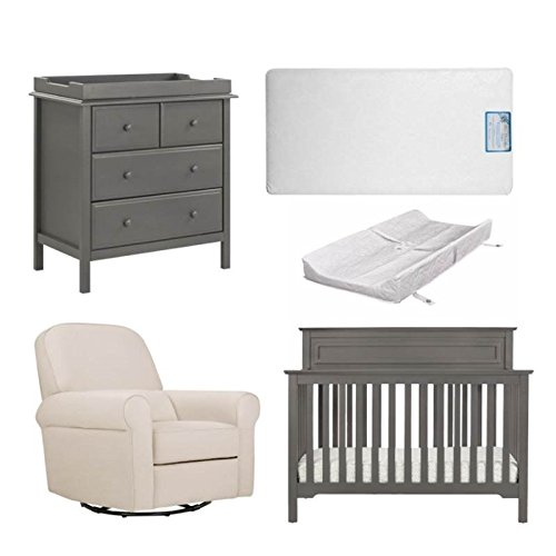 5 Piece Nursery Furniture Set with Mattress & Pad in Gray