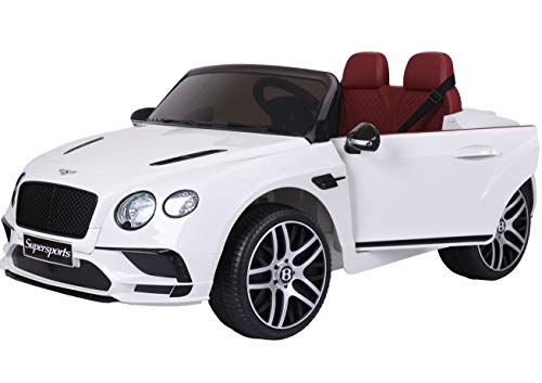 Two Seater Bentley Electric Toy Car 12V Battery JE1155 Ride On RC Parental Remote Controller Leather Seat Suitable for Boys Girls White