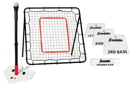 Franklin Sports MLB Baseball Youth Starter Set - Includes a 36 x 36 Inch Pitch Back Returner, Four Piece Base Set, and an Anti-Tip Batting Tee