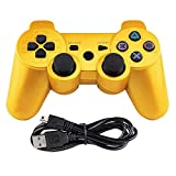 Tidoom PS3 Controller Wireless Bluetooth Six Axis Dualshock Game Controller Compatible for Playstation 3 Dualshock 3 with Charging Cable Gold