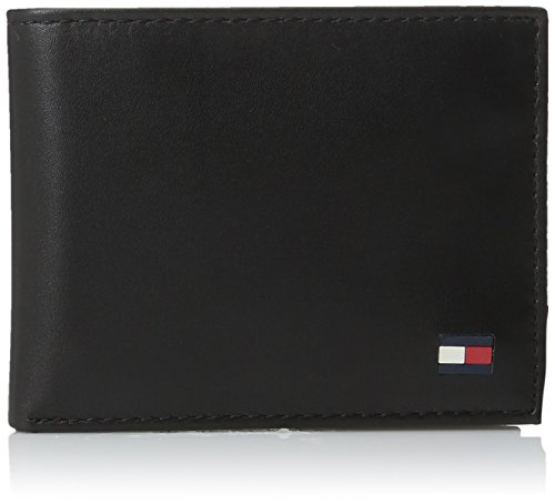 Tommy Hilfiger Men's Leather Wallet - Thin Sleek Casual Bifold with 6 Credit Card Pockets and Removable ID Window, Black Dore