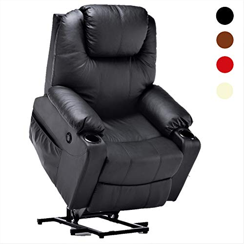 Mcombo Electric Power Lift Massage Sofa Recliner Heated Chair Lounge w/Remote Control USB Charging Ports, 7040 (Black)