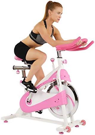 Sunny Health & Fitness P8150 Belt Drive Premium Indoor Cycling Bike, Pink