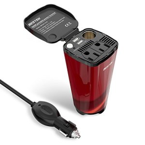 BESTEK Power Inverter Cup 12V DC to 110V AC with USB Ports, Cigarette Lighter Socket, and 2 AC Outlets