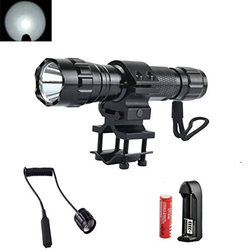 High Power 1000Lm Flashlight Set, Bright Tactical Light Torch Lamp with Pressure Switch, Rechargeable Battery, Charger, Mount for Camping Cycling Emerency Use