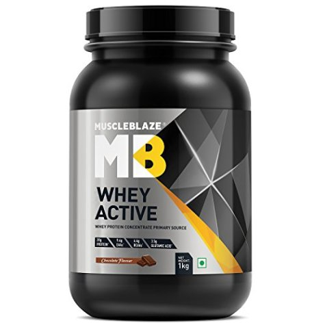 MuscleBlaze Whey Active Protein Supplement Powder (Chocolate, 2 kg / 4.4 lb, 60 Servings) (Chocolate, 1 Kg / 2.2 lb)