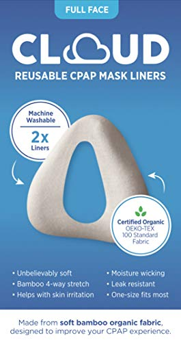 Cloud Bamboo Organic Fabric Full-Face (NOSE AND MOUTH) CPAP Mask Liner: Superior Comfort, Unbelievably Soft, Machine Washable, 2 Per Pack. Fits SMALL & MEDIUM masks