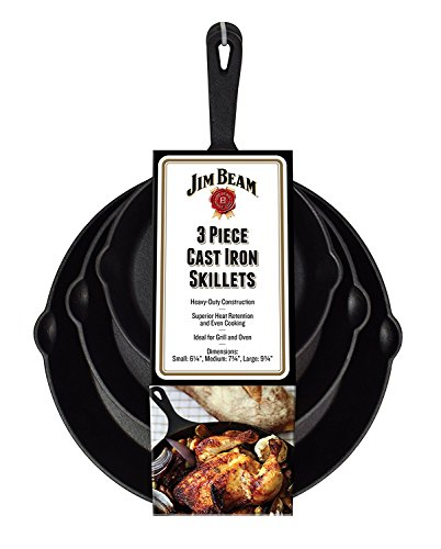 Jim-Beam-Set-of-3-Pre-Seasoned-Cast-Iron-Skillet-Set-Heavy-Duty-Construction-For-Superior-Heat-Retention-Even-Cooking