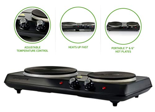 OVENTE BGS102B Countertop Electric Double Cast-Iron Burner with Adjustable Temperature Control, 7 & 6 Inch, Metal Housing, Indicator Light, Non-Slip Rubber Feet, Black
