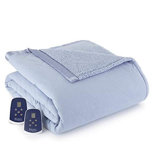 Shavel Home Products Micro Flannel Reversible Sherpa Electric Heated Blanket Wedgewood King/California King Blanket