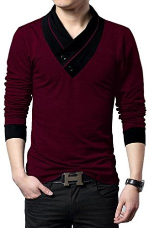 EYEBOGLER Solid Men's Shawl Collar Regular Fit T-Shirt