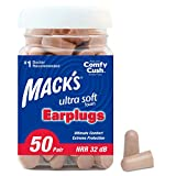 Mack's Ultra Soft Foam Earplugs,  - 32dB Highest NRR, Comfortable Ear Plugs for Sleeping, Snoring, Travel, Concerts, Studying, Loud Noise, Work,  50 Pair