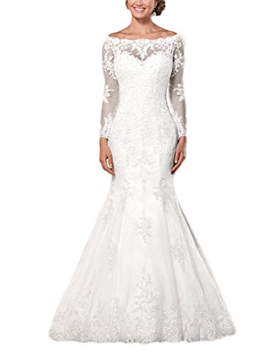 41Bk3tn7ipL Back design : Button Please choose size from our size chart on the left side not AMAZON SIZE CHART Mermaid Lace Wedding Dress with Sleeves