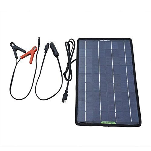ECO-WORTHY 12 Volts 10 Watts Portable Power Solar Panel Backup for Car Boat with Alligator Clip Adapter
