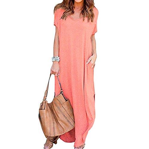 TnaIolral HOT Women Dresses Loose Summer Beach Gallus Short Sleeves Floor-Length Long Skirt (S, Pink)