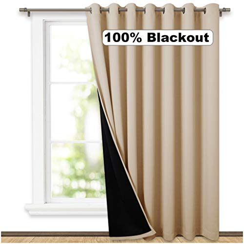 NICETOWN Thermal Insulated 100% Blackout Curtains, Noise Reducing Performance Grommet Slider Curtain Panel with Black Lining, Full Light Blocking Patio Door Drapery (1 Pcs, 100' x 84', Biscotti Beige)