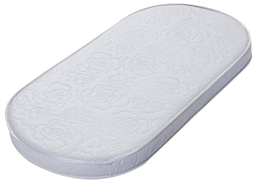Big Oshi Waterproof Oval Baby Bassinet Mattress - Waterproof Exterior - Thick, Soft, Breathable Foam Interior - Comfy, Padded Design, Also Fits Portable Bassinets - 15' x 30' x 2'