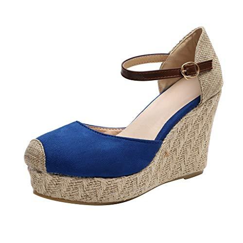 MmNote Women Shoes, Platform Wedges Sandals for Women, Classic Soft Ankle-Tie Lace up Espadrilles Shoes Advanced Blue