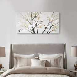 amatop Large Modern Wall Art Canvas Print with Hand-Painted Texture Nature Tree Birds Artwork Landscape Oil Paintings for Home Living Room Office Decor Gold Foil Ready to Hang 48x24inch