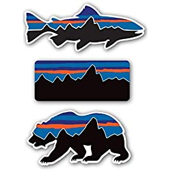 Patagonia Style Decal Stickers Sticker Mountain Camping Travel Adventure Fishing [Premium Matte Waterproof Vinyl]