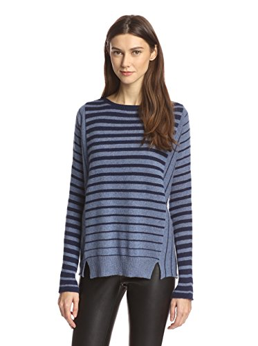 "41BzqEDw9%2BL A relaxed fit and slit hem reinforced the laidback look of this lightweight sweater in variegated two-tone stripes. Long sleeves Top length measures 25.5"" from top of the shoulder to bottom hem"