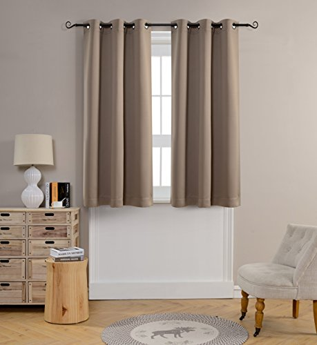 Mysky Home Grommet top Thermal Insulated Window Blackout Curtain for Bedroom, 42 by 63 inch, Taupe (1 panel)