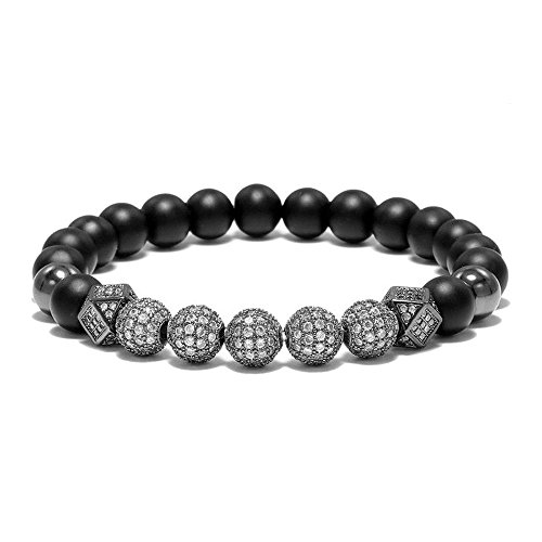 WFYOU 8mm Charm Beads Bracelet for Men Women Black Matte Onyx Natural Stone Beads, 7.5″