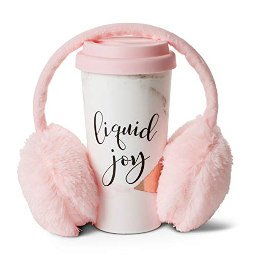Insulated Tumbler and Ear Muff Set (Liquid Joy): Tri-Coastal Design Thermal Travel Mug and Adjustable Pink Headband Ear Warmers - Mugs Keeps Coffee and Hot Cocoa Warm - Gift Set for Girls and Women