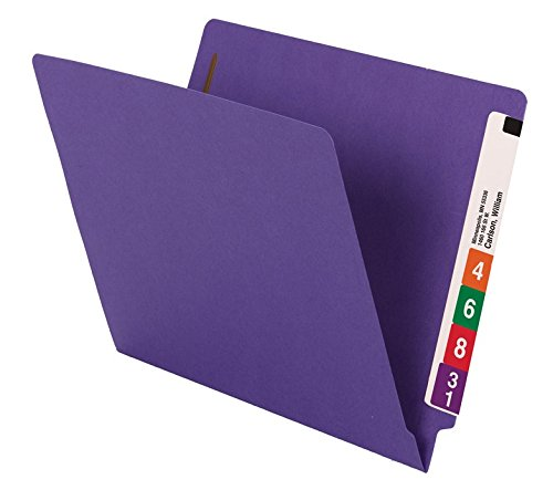 Smead WaterShed/CutLess End Tab Fastener File Folder, Reinforced Straight-Cut Tab, 2 Fasteners, Letter Size, Purple, 50 per Box (25550) deal 50% off 41C6JGpIITL