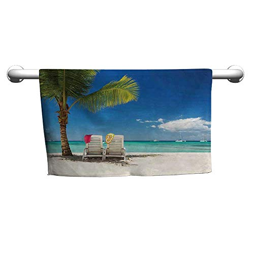 flybeek Floral Hand Towels Seaside Decor,Relaxing Scene on Remote Beach with Palm Tree,Chairs and Boats Panoramic Picture,Blue Green,Hooded Beach Towel for Girls