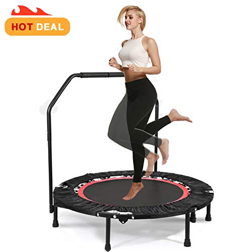 40' Fitness Exercise Trampoline Foldable with Adjustable Handrail Rebounder Trampoline Indoor Mini Trampoline for Adults or Kids Max. Load 300 lbs Stretch Jump Mat (Red)