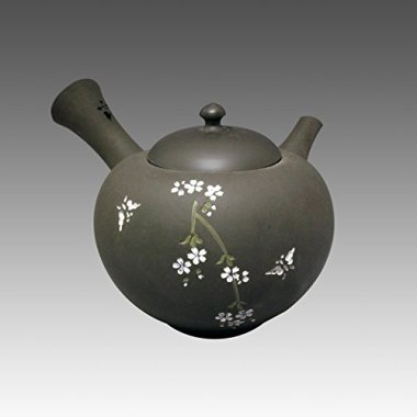 TOKYO MATCHA SELECTION - Tokoname Kyusu teapot - SEIHO - SAKURA BLACK 350cc/ml - sasame ceramic fine mesh with box [Standard ship by EMS: with Tracking & Insurance]