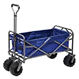 Outdoor Innovations Heavy Duty Collapsible All Terrain Folding Beach Wagon Utility Cart (Black)