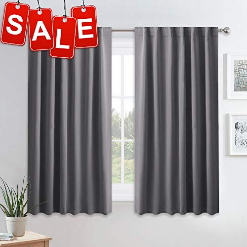 PONY DANCE Blackout Curtains for Bedroom - 54 Inches Long Curtain Drapes with Back Loops Plus Rod Pocket Design Privacy Protect Energy Saving, 52' W x 54' L, Dark Gray, 1 Pair