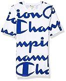Champion LIFE Men's Heritage Tee-All Over Script, Giant CHP White-SURF, Medium
