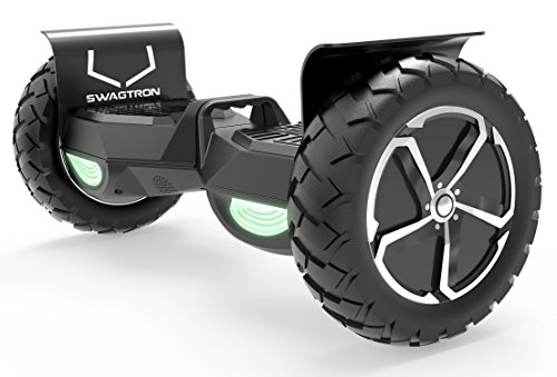 "Swagtron Swagboard Outlaw T6 Off-Road Hoverboard - First in The World to Handle Over 380 LBS, Up to 12 MPH, UL2272 Certified, 10"" Wheel (Black)"