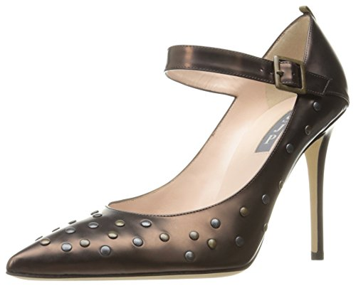 71uA1QUSfNL Vintage-inspired pump featuring edgy studding and classic Mary Jane strap with buckle closure Contrast grosgrain stripe at heel counter Handmade in Italy