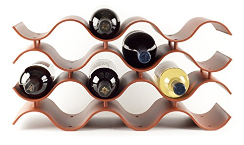 Wave Wine Rack for Countertop, Terra Cotta, 12 Bottles