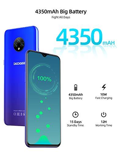 DOOGEE X95 (2020) Smartphone 4G, 6.52″ FHD+ Display, 4350mAh Batteria Cellulari Offerte, 128GB Espandibili Cellulare, Sblocco Viso, 13MP+5MP, 16GB ROM, Dual SIM Telefoni Cellulari, Andriod 10, Blu