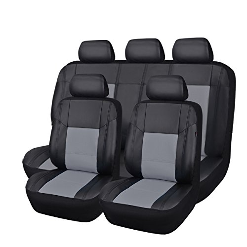 Car Pass Universal Pu Leather Car Seat Cover Set, Black with Gray (Pack of 11)
