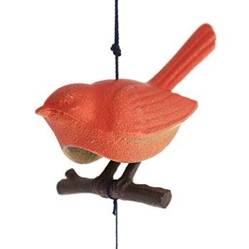 YokohamaUSA Japanese Furin Wind Chimes Nambu Cast Iron Red Songbird/Branch/Made in Japan