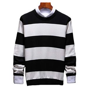 Spinning Fashion Stripe Sweaters Men O Neck Pullover Men Men's Sweater Casual Male New 3XL