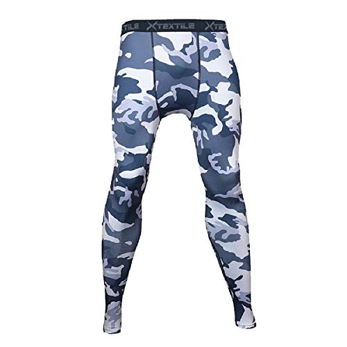 Xtextile Mens Camouflage Sports Compression Tight Leggings (Large, Black+Grey)