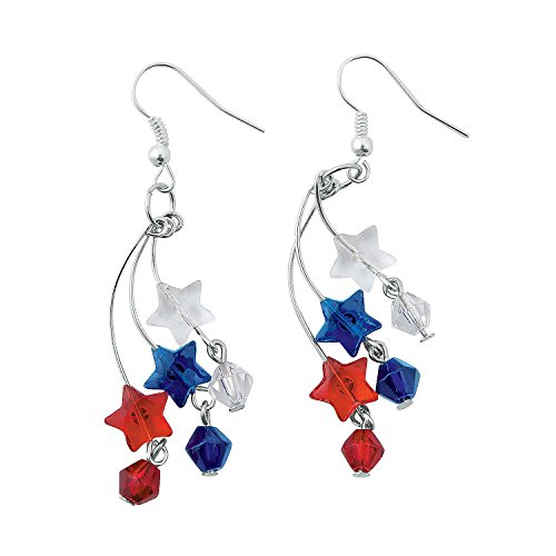 Fun Express - Patriotic Firework Earring Craft Kit for Fourth of July - Craft Kits - Adult Jewelry Craft Kits - Adult Earring - Fourth of July - 6 Pieces